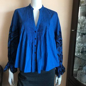 Zara Blue Black Eyelet Embroidered Button Up Top